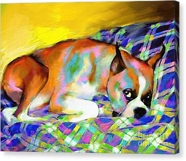 Cute Boxer Dog Portrait Painting Canvas Print by Svetlana Novikova