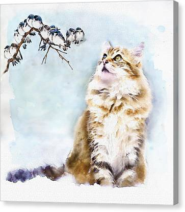 Cute Cat On The Lurk Canvas Print