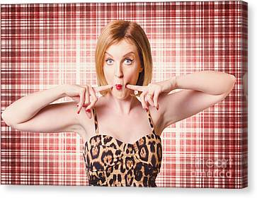 Cute Pin-up Woman Making A Cheeky Point Canvas Print by Jorgo Photography - Wall Art Gallery