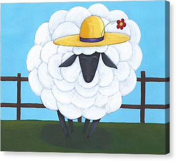 Cute Sheep Nursery Art Canvas Print by Christy Beckwith