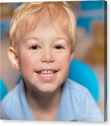 Cute Smiling Boy Canvas Print by Anna Om