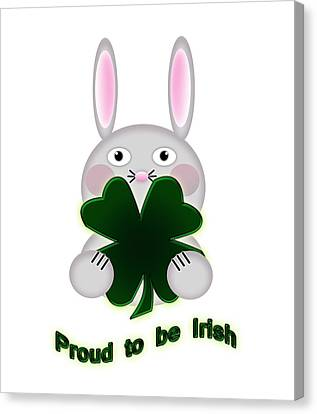 Cute St. Patricks Day Bunny Proud To Be Irish Canvas Print by Shelley Neff