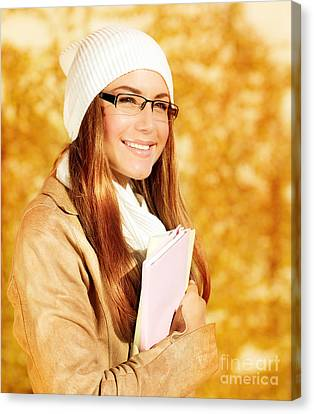 Cute Student Girl Canvas Print by Anna Omelchenko