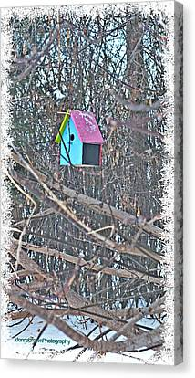 Cutest Little Birdhouse Canvas Print by Donna Brown