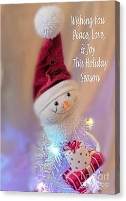 Cutest Snowman Christmas Card Canvas Print by Janie Johnson