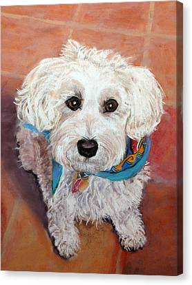 Canvas Print featuring the pastel Cutie With Bandana by Julie Maas