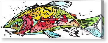 Canvas Print featuring the painting Cutthroat Trout by Nicole Gaitan