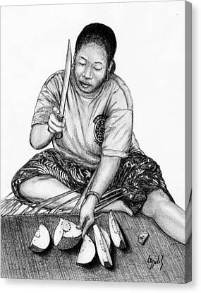 Canvas Print featuring the drawing Cutting Breadfruit by Lew Davis