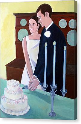Cutting The Wedding Cake Canvas Print by Toni Silber-Delerive