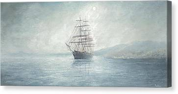 Cutty Sark Anchored Off The Coast Canvas Print