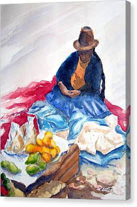 Cuzco Market Canvas Print by Marsha Elliott