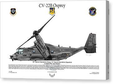 Cv-22b Osprey 71st Sos Canvas Print by Arthur Eggers