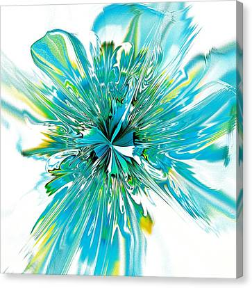 Abstract Flowers Canvas Print - Cyan Blue by Anastasiya Malakhova