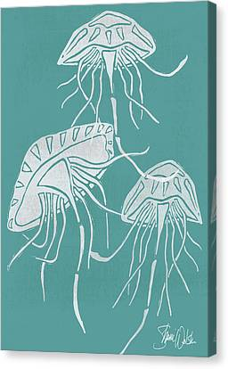 Jellyfish Canvas Print - Cyanotype Jellyfish by Shanni Welsh