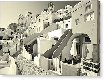 Canvas Print featuring the photograph Cycladic Style Houses by Aiolos Greek Collections