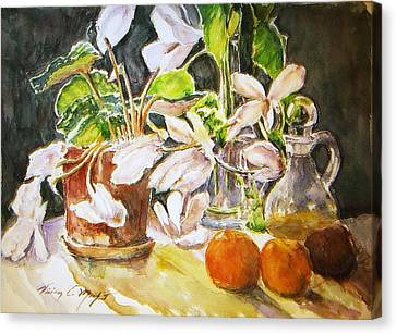 Cyclamen With Tangerines And Kiwi Canvas Print by Vivian  Castillo M