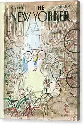 1st Canvas Print - Cycle Shop by Jean-Jacques Sempe