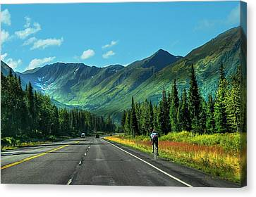Cycling In Denali   Canvas Print by Dyle   Warren