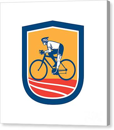 Cyclist Riding Bicycle Cycling Side View Retro Canvas Print by Aloysius Patrimonio