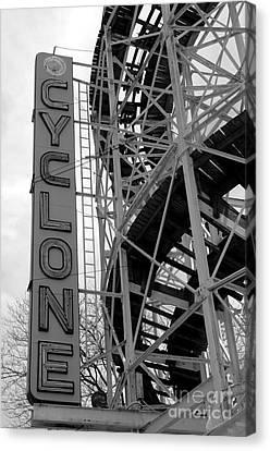 Cyclone - Coney Island  - Black And White Canvas Print