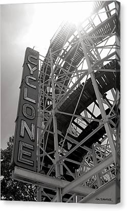Roller Coaster Canvas Print - Cyclone Rollercoaster - Coney Island by Jim Zahniser