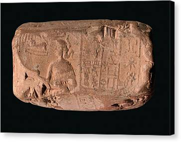 Iraq Canvas Print - Cylinder Seal Goddess by Library Of Congress
