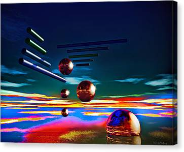 Cylinders And Spheres Canvas Print by Ramon Martinez