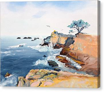 Cypress And Seagulls Canvas Print by Asha Carolyn Young