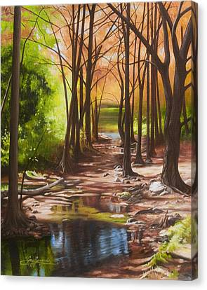 Cypress Creek In Autumn Canvas Print by Gary  Hernandez