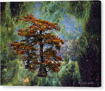 Canvas Print featuring the digital art Cypress In All Its Glory by J Larry Walker