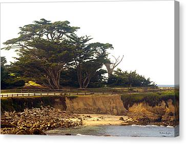 Bridge On Highway One Canvas Print - Cypress Trees On 17 Mile Drive by Barbara Snyder