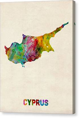 Cyprus Watercolor Map Canvas Print