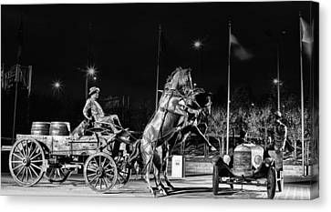 Horse And Cart Canvas Print - Cyrus Avery Centennial Plaza by JC Findley