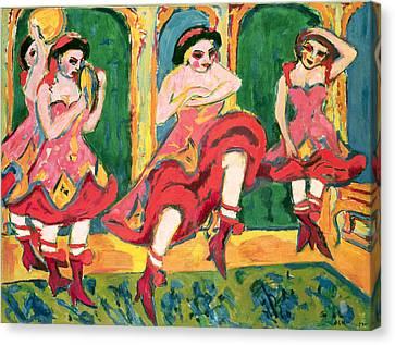 Czardas Dancers, 1908-20 Canvas Print by Ernst Ludwig Kirchner