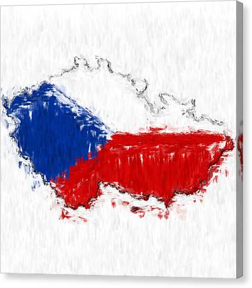 Czech Republic Painted Flag Map Canvas Print by Antony McAulay