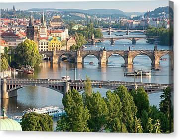 Czech Republic, Prague - Bridges Canvas Print by Panoramic Images