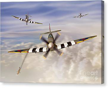 Airoplane Canvas Print - D-day Spitfires by Linton Hart