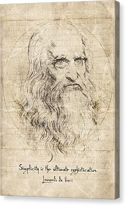 Da Vinci Quote Canvas Print by Taylan Apukovska