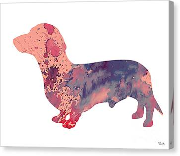 Dachshund 3 Canvas Print by Watercolor Girl