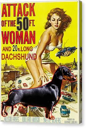 Dachshund Art Canvas Print - Dachshund Art Canvas Print - Attack Of The 50ft Woman Movie Poster by Sandra Sij