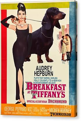 Dachshund Art Canvas Print - Dachshund Art Canvas Print - Breakfast At Tiffany Movie Poster by Sandra Sij