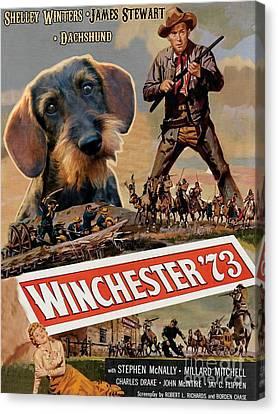 Dachshund Art Canvas Print - Dachshund Art Canvas Print - Winchester 73 Movie Poster by Sandra Sij