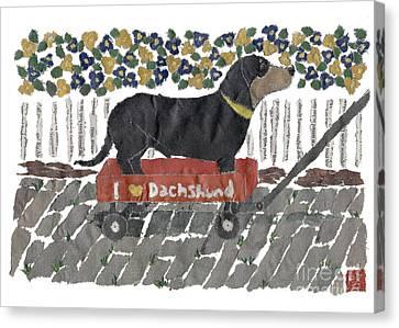 Dachshund Art Hand-torn Newspaper Collage Art Canvas Print by Keiko Suzuki