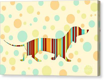 Dachshund Fun Colorful Abstract Canvas Print