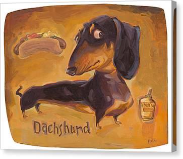 Dachshund Art Canvas Print - Dachshund Much More Than A Hot Dog by Shawn Shea