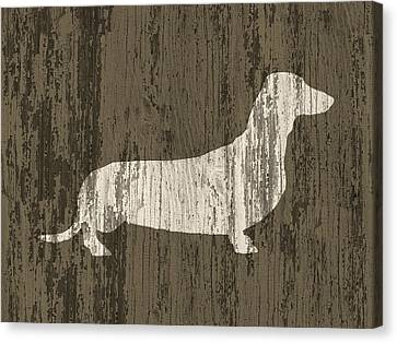 Dachshund On Wood Canvas Print