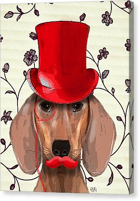 Dachshund Red Hat And Moustache Canvas Print