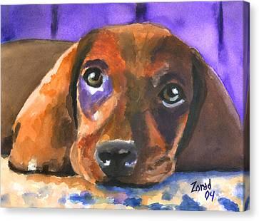 Dachshund Watercolor Canvas Print