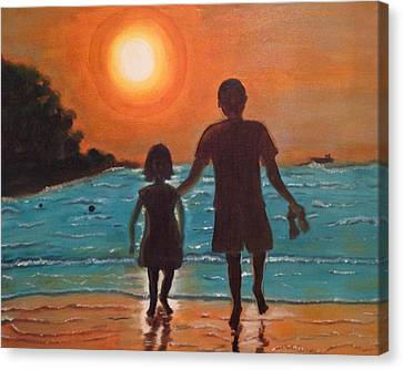 Canvas Print featuring the painting Dad And Daughter by Brindha Naveen