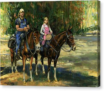 Trail Ride Canvas Print - Dad And Daughter On Gatied Mules by Don  Langeneckert